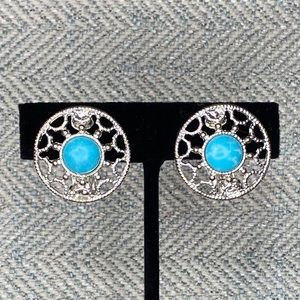 Silver Tone & Turquoise Color Clip On Earrings